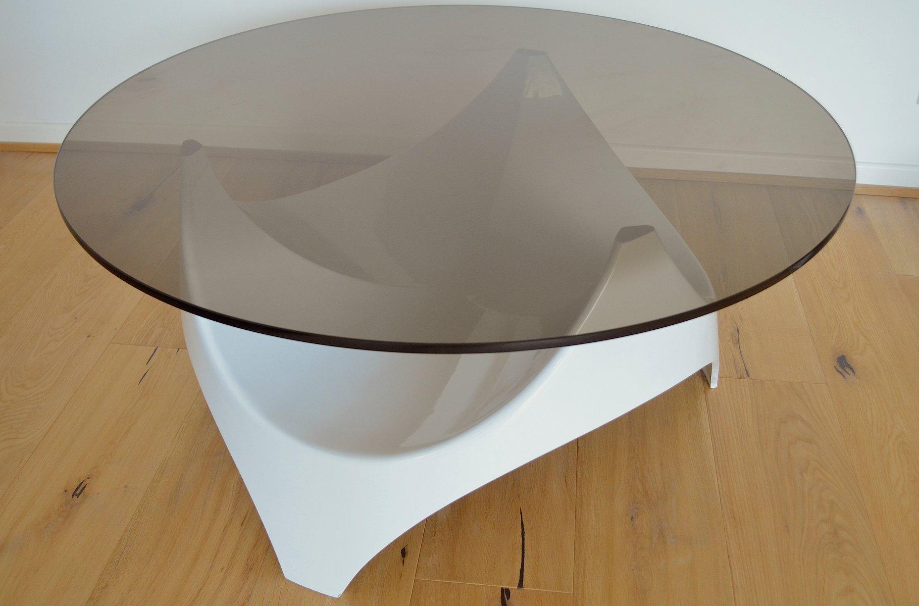 Mid-Century Couchtisch mit Tischplatte aus Rauchglas von Opal Möbel, 1...