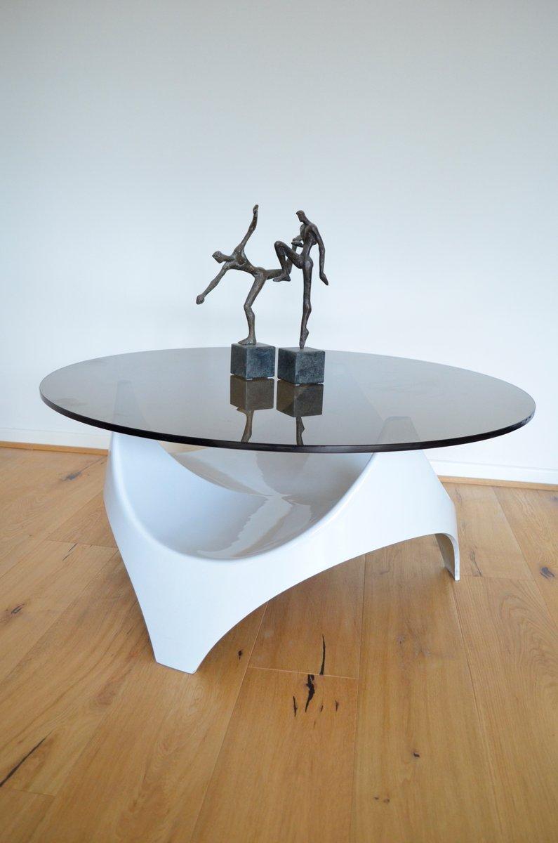 mid century couchtisch mit tischplatte aus rauchglas von. Black Bedroom Furniture Sets. Home Design Ideas