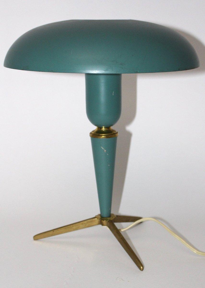 Lampada da tavolo in alluminio verde e ottone di louis - Lampada da tavolo verde ...