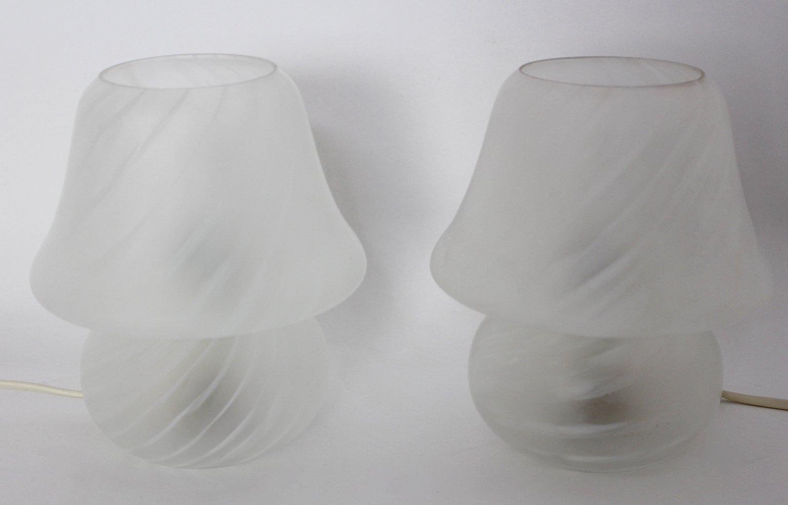 Italienische Glas Tischlampen, 2er Set