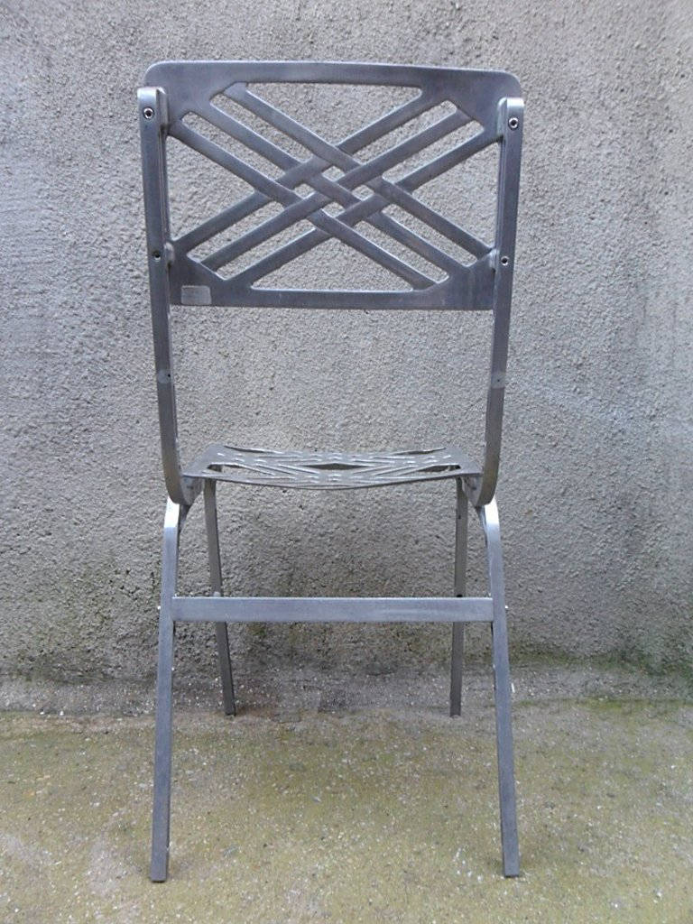 chaise d 39 ext rieur en aluminium par slavik pour galerie alumine 1980s france en vente sur pamono. Black Bedroom Furniture Sets. Home Design Ideas