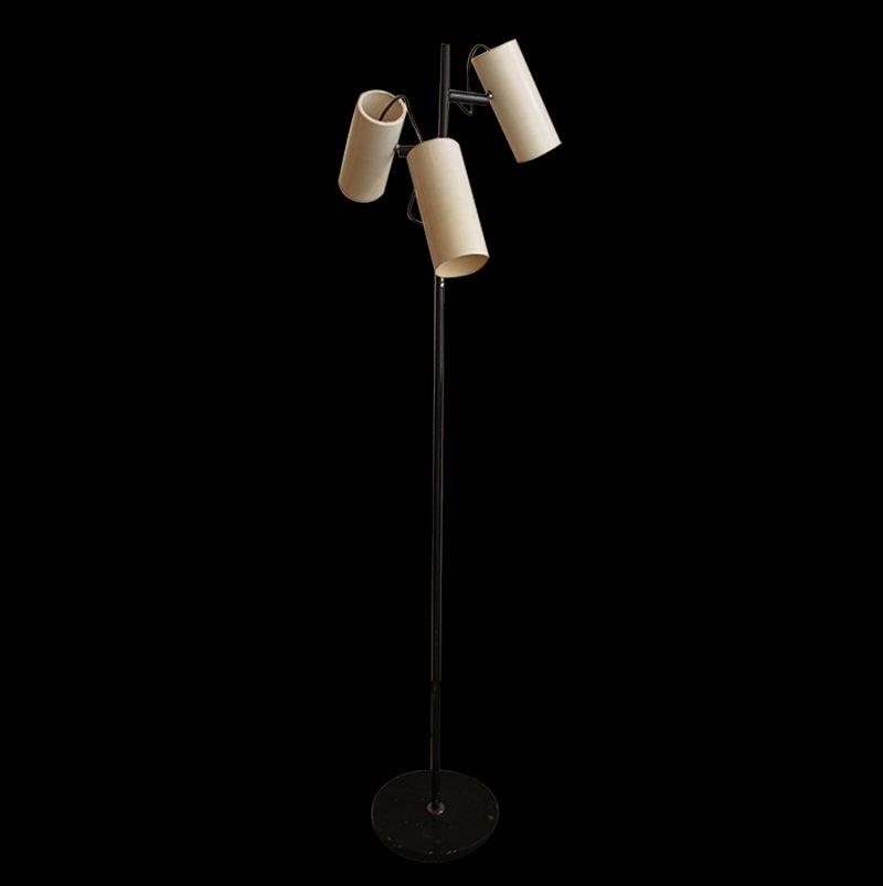 Stehlampe mit Drei Weißen Zylinderförmigen Leuchten, 1950er