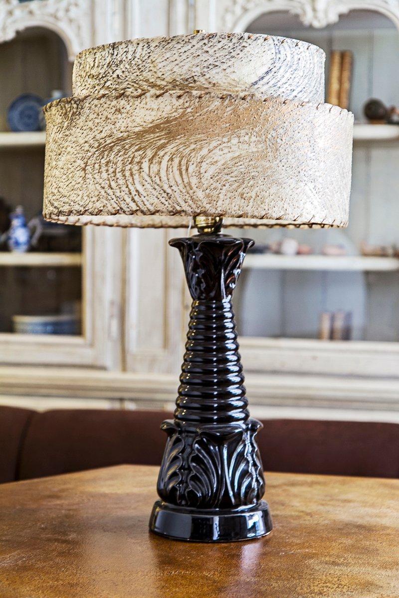 Vintage Black Ceramic Table Lamp