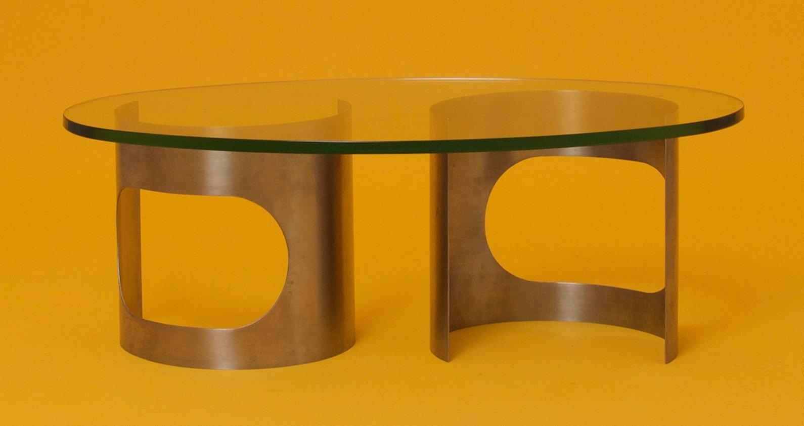 franz sischer runder couchtisch aus edelstahl glas 1970er bei pamono kaufen. Black Bedroom Furniture Sets. Home Design Ideas