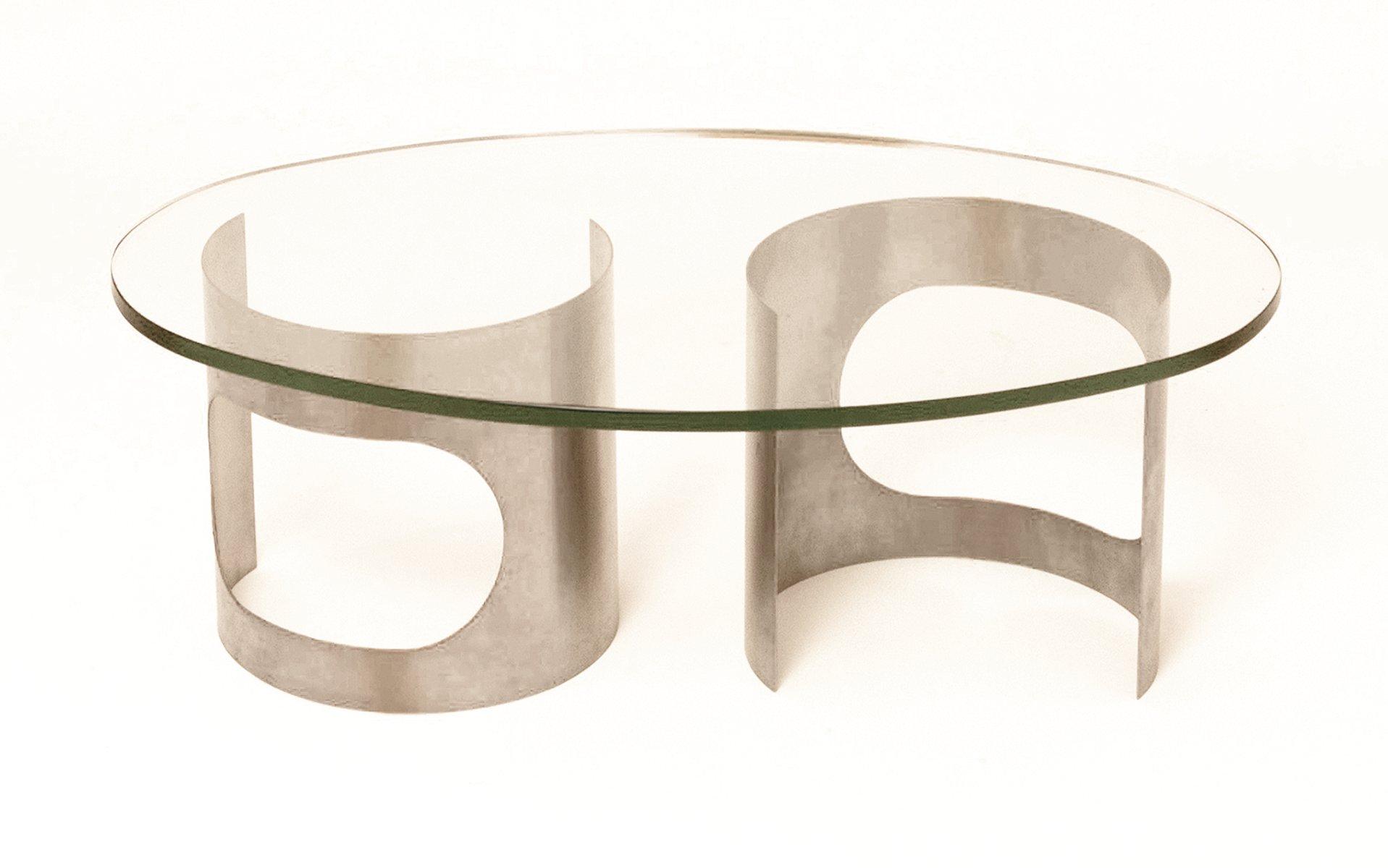 Französischer Runder Couchtisch Aus Edelstahl Glas 1970er Bei