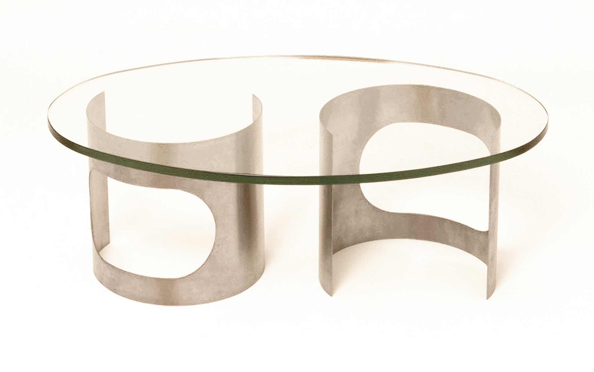French Spherical Stainless Steel And Gl Top Coffee Table 1970s