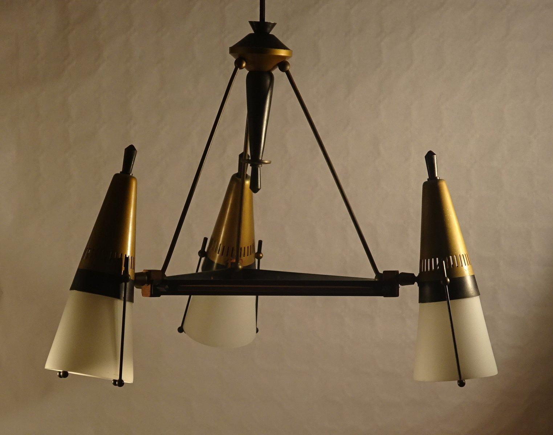 Kronleuchter aus Bronze & Schwarzem Gerüst von Angelo Lelli für Arredo...