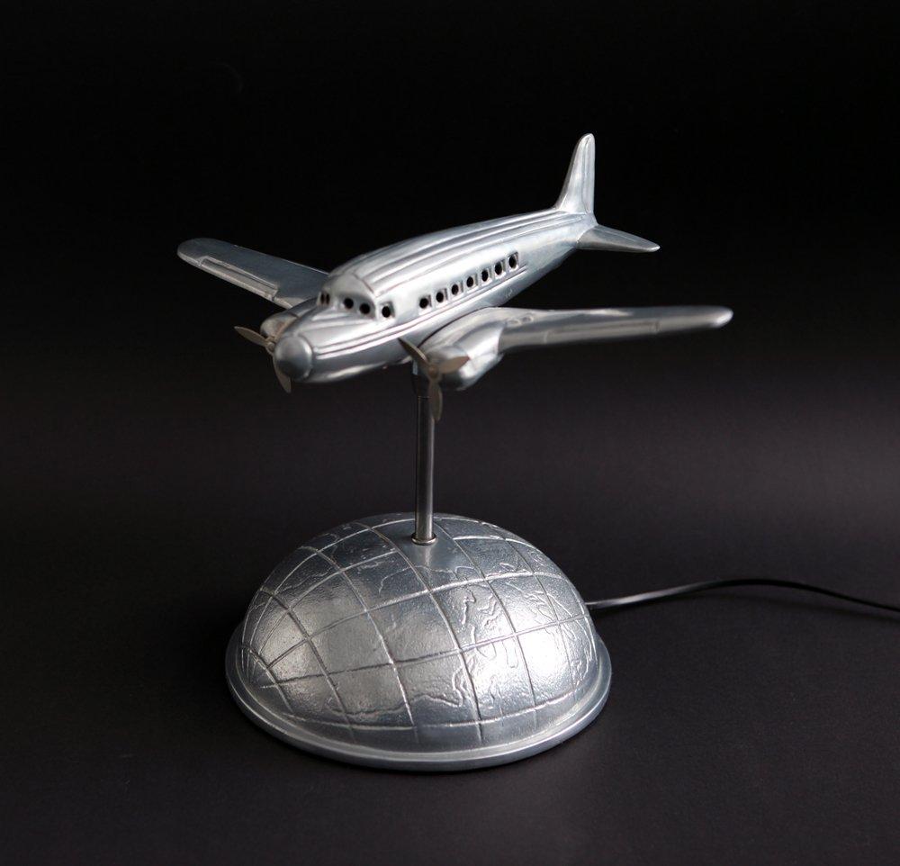 Art Deco DC3 Flugzeug Tischlampe, 1970er