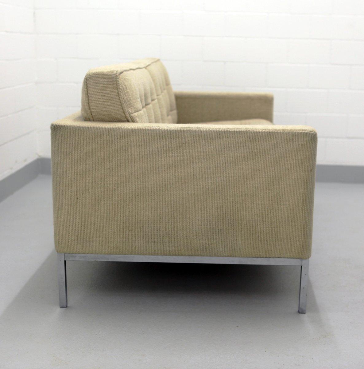 zwei sitzer sofa mit chromgestell wollbezug von florence knoll f r knoll 1970er bei pamono kaufen. Black Bedroom Furniture Sets. Home Design Ideas