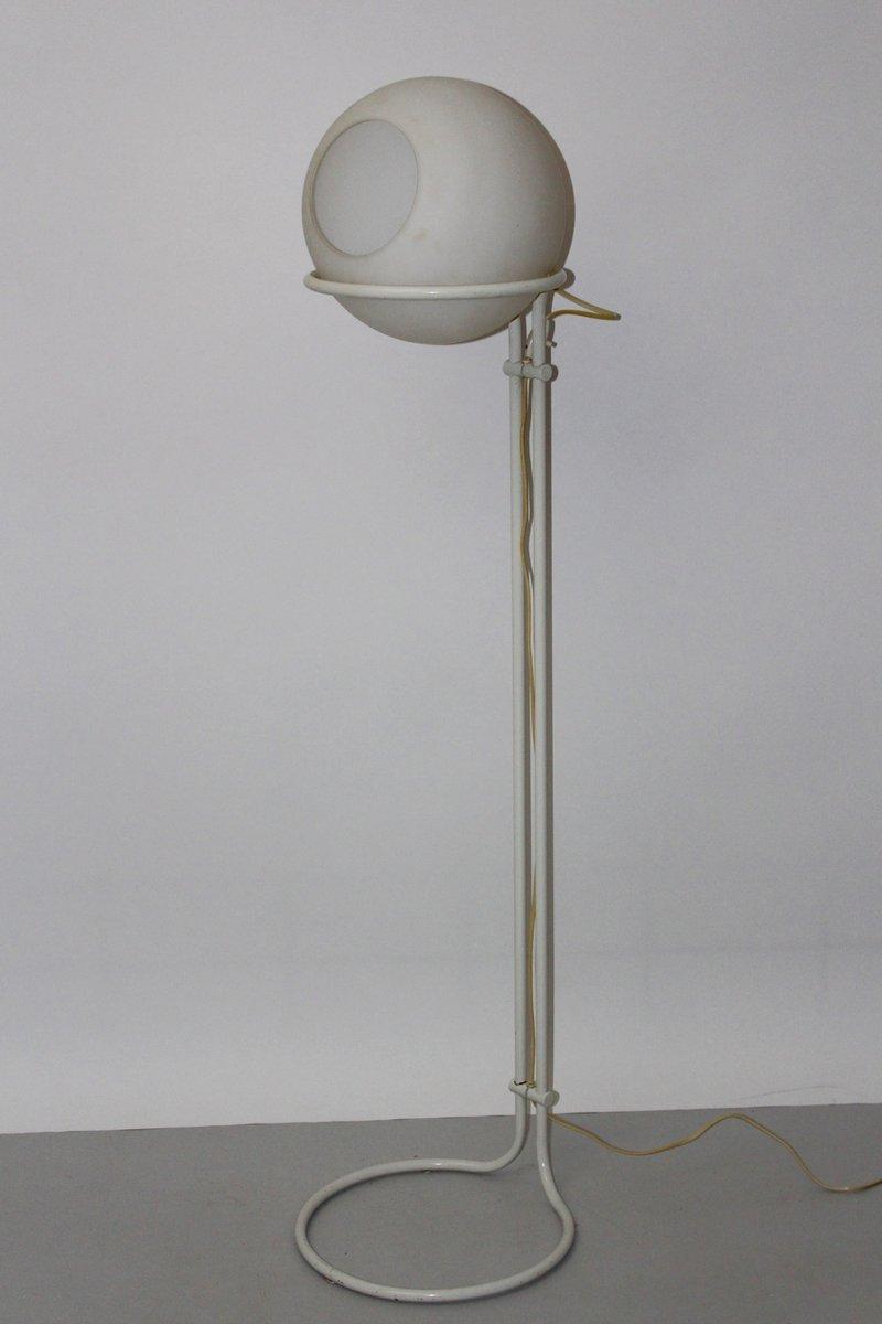 Weiße Vintage Stehlampe aus Stahl & Milchglas