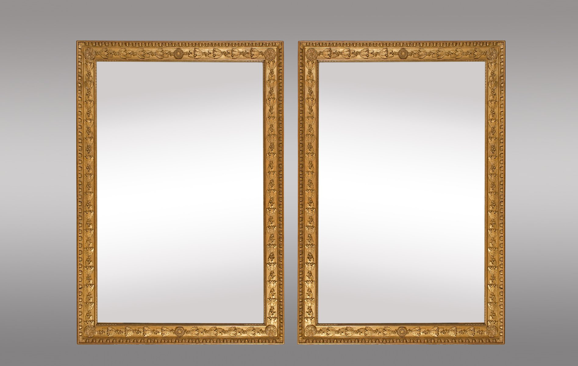 French Gilt Mirrors With Oak Leaves And Rosettes Set Of 2