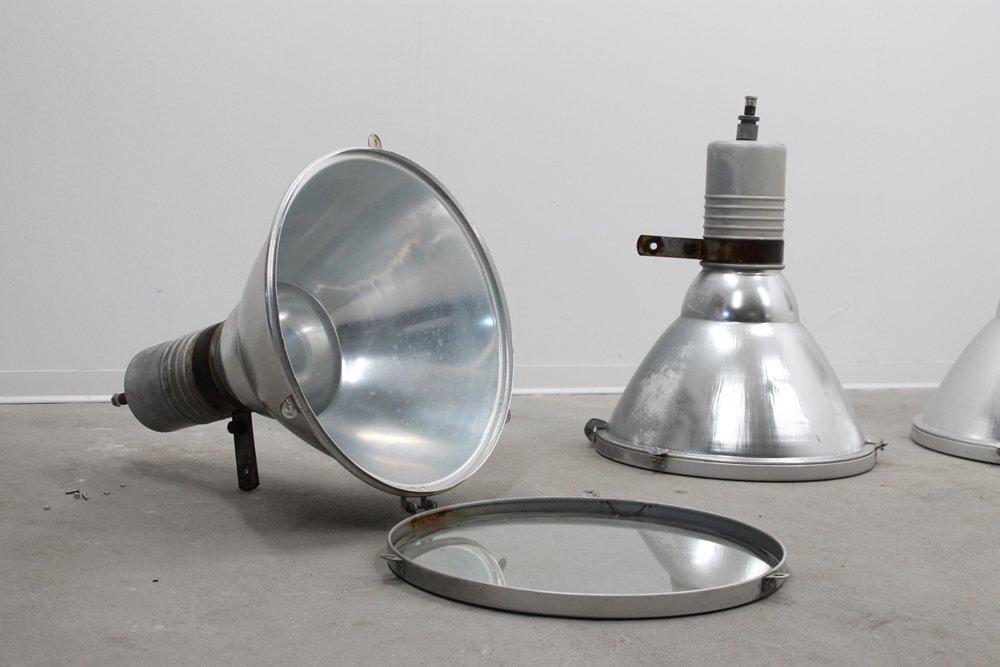 Italienische Industrielle Vintage Hängelampe aus Aluminium & Hartglas