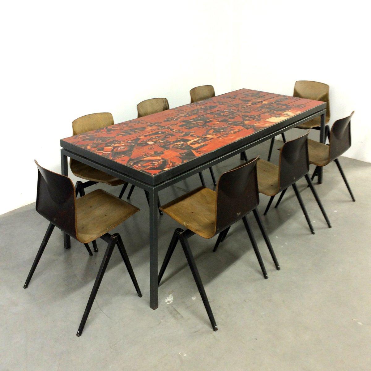 Table De Salle A Manger Artisanale Avec Dessus Carrele Par Wilhelm