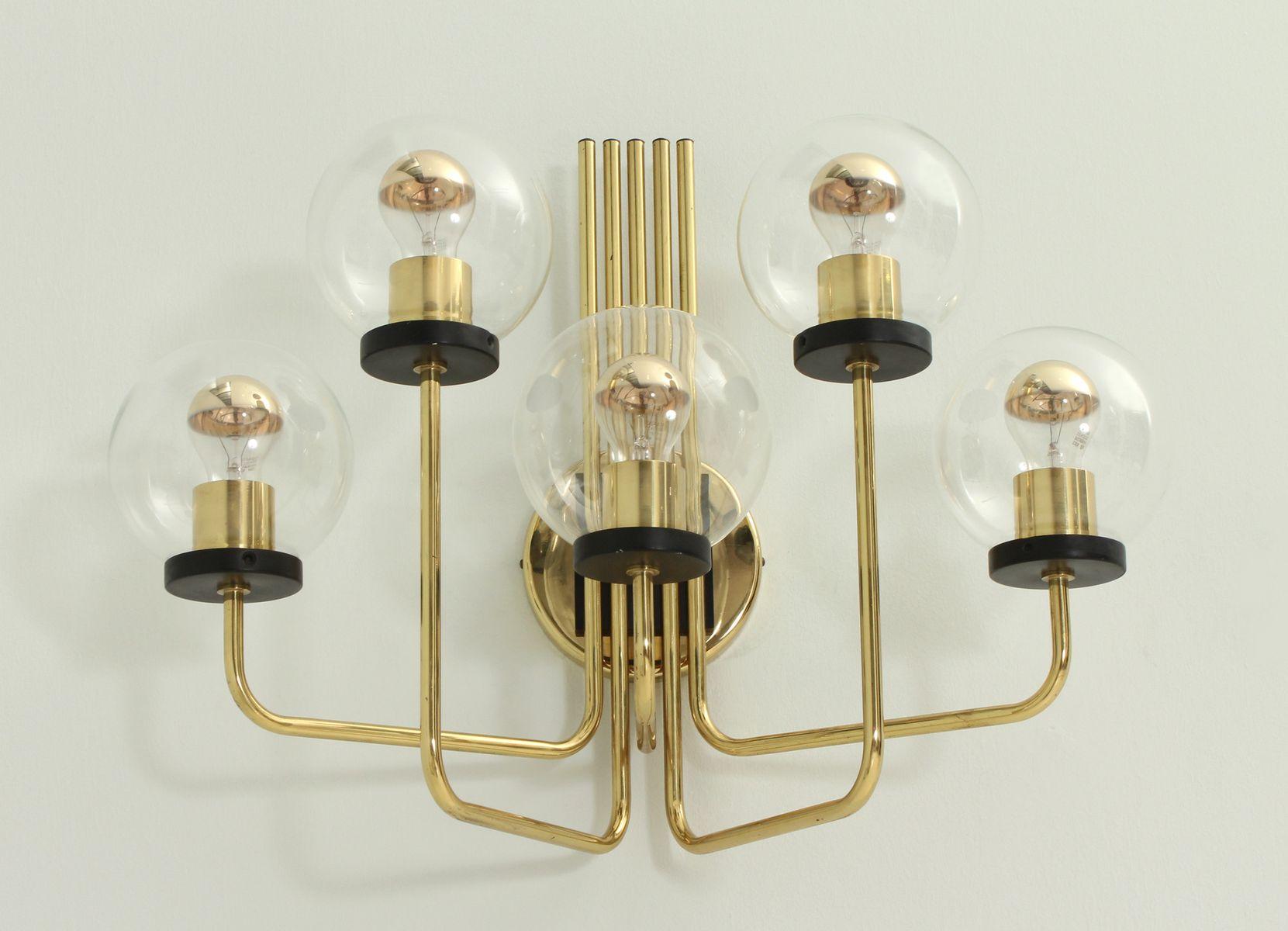 Große Italienische Messing Wandlampe, 1950er