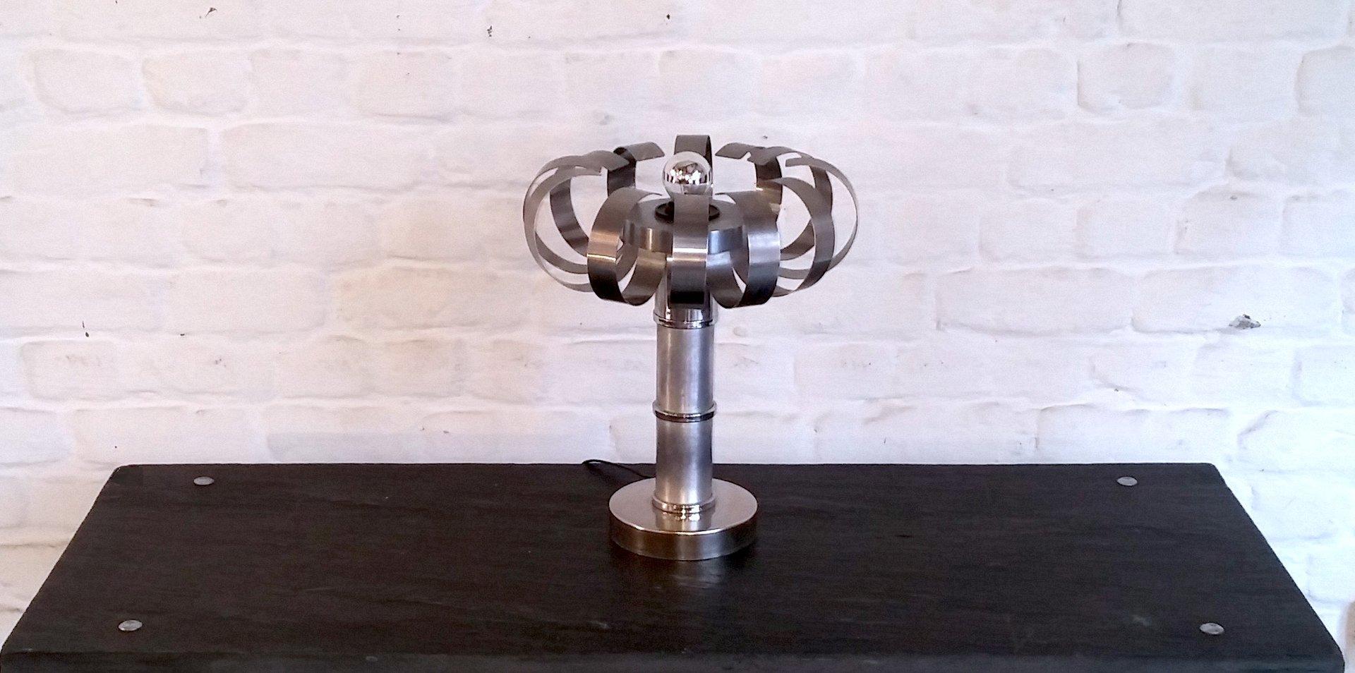 Italienische Space Age Tischlampe aus Stahl