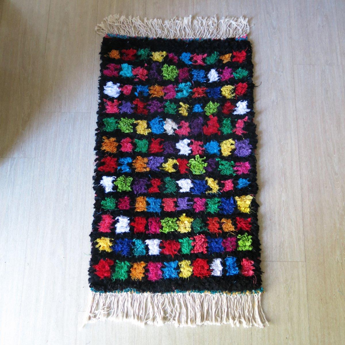 marokkanischer bunter kleiner teppich 1990er bei pamono. Black Bedroom Furniture Sets. Home Design Ideas