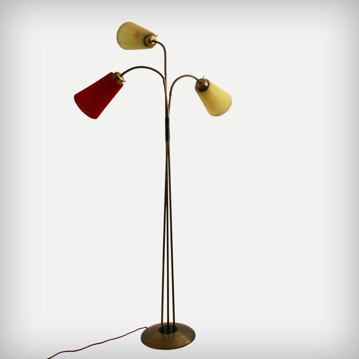 Italienische Stehlampe mit Drei Armen, 1950er
