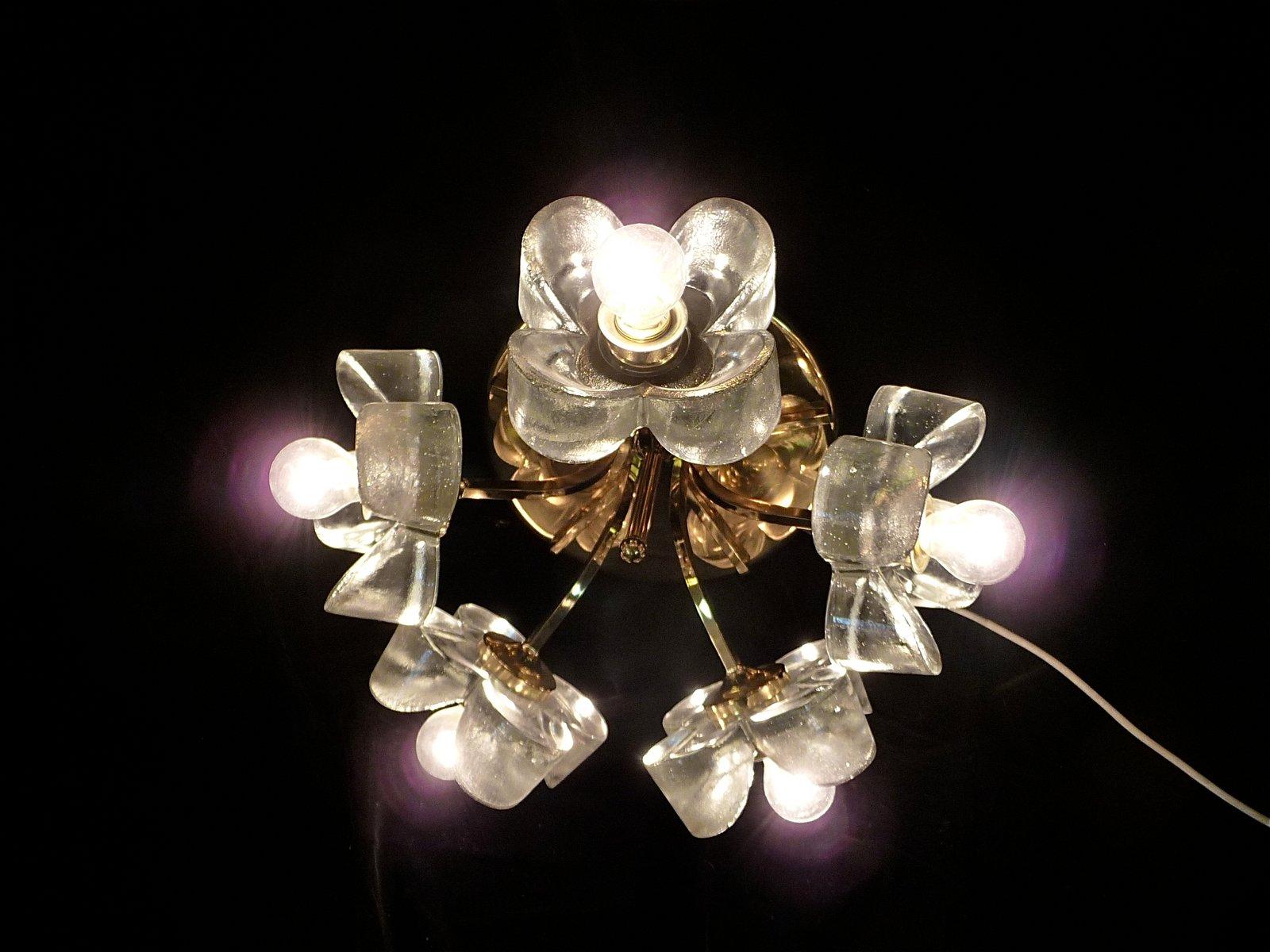 Messing Kronleuchter mit Glasblumen von Mazzega, 1960er