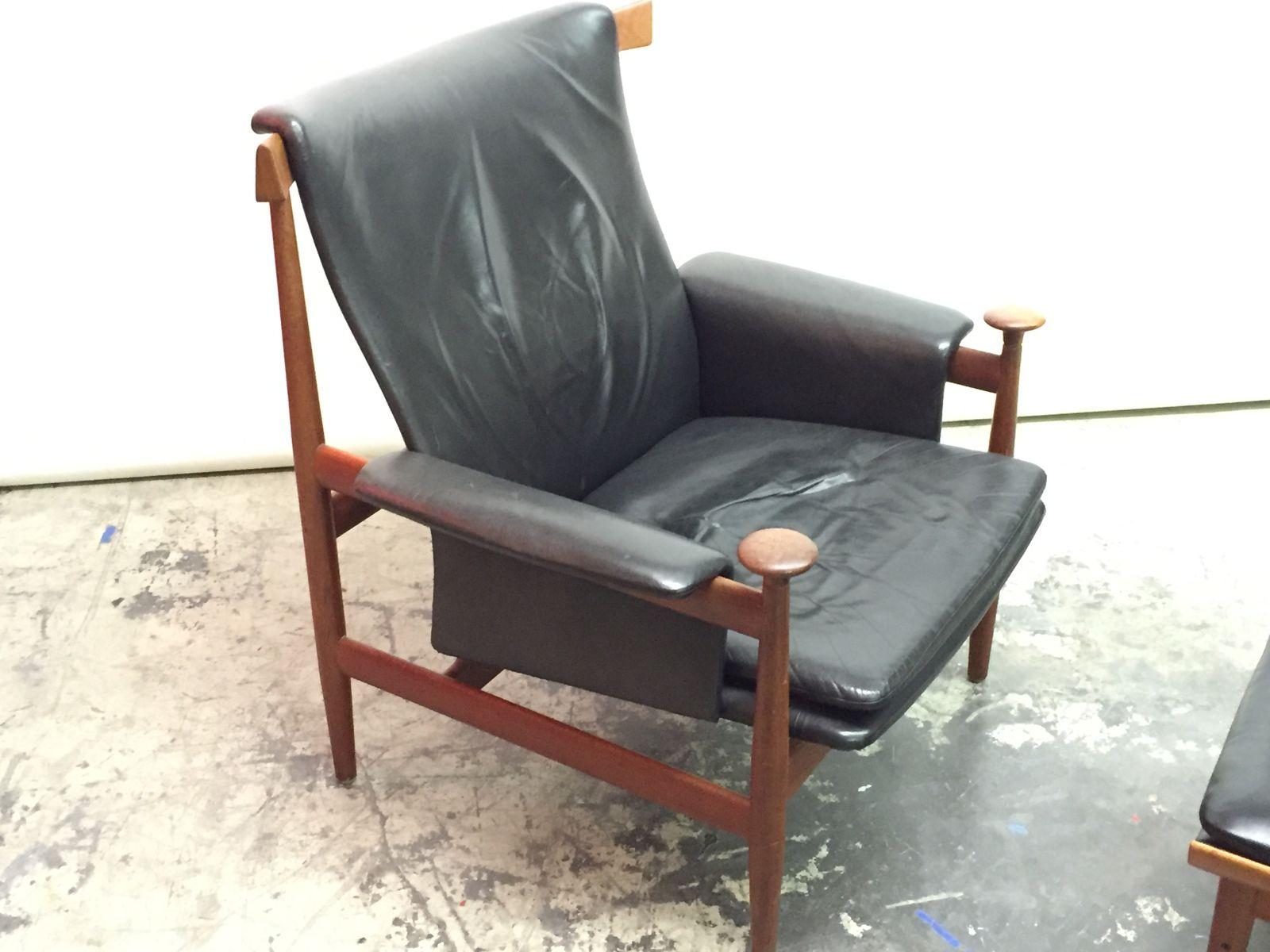 d nischer bwana stuhl mit ottomane von finn juhl f r france son 1960er 2er set bei pamono kaufen. Black Bedroom Furniture Sets. Home Design Ideas