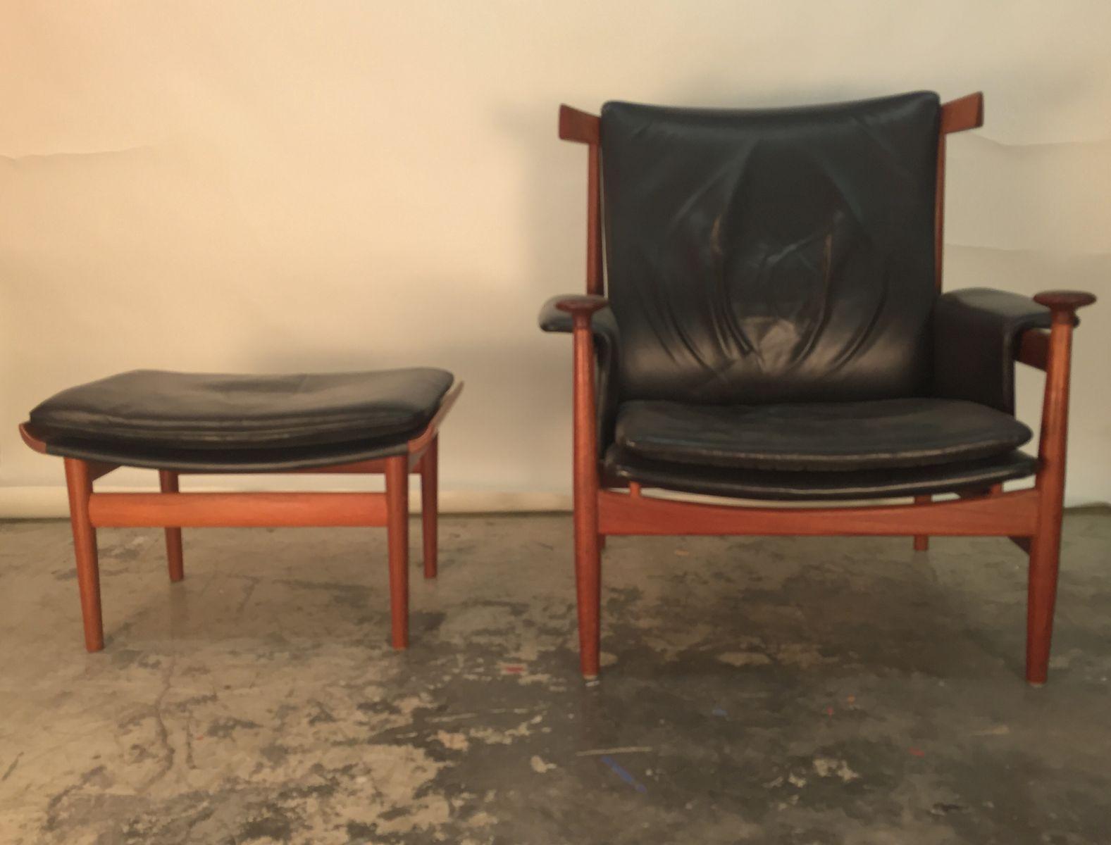 d nischer bwana stuhl mit ottomane von finn juhl f r. Black Bedroom Furniture Sets. Home Design Ideas
