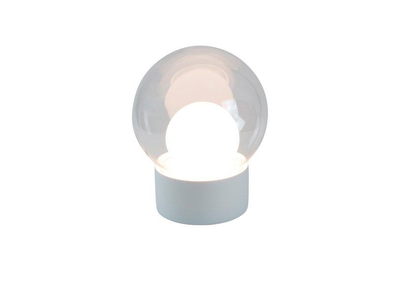 Small Boule aus Klar- und Opalglas mit Weißem Sockel von Sebastian Her...