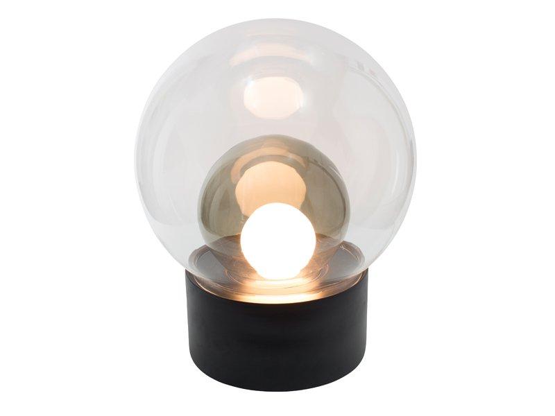 Medium Boule aus Klar- und Grauem Rauchglas mit Schwarzem Sockel von S...