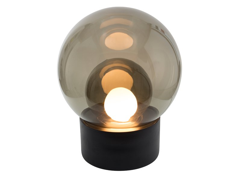 Medium Boule aus Rauchglas mit Schwarzem Sockel von Sebastian Herkner ...