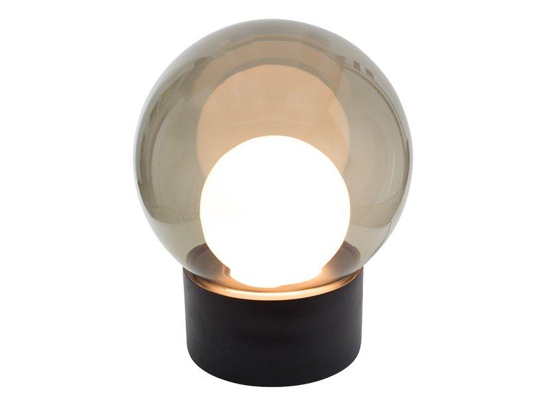 Medium Boule aus Opalglas & Grauem Rauchglas und Schwarzem Sockel von ...
