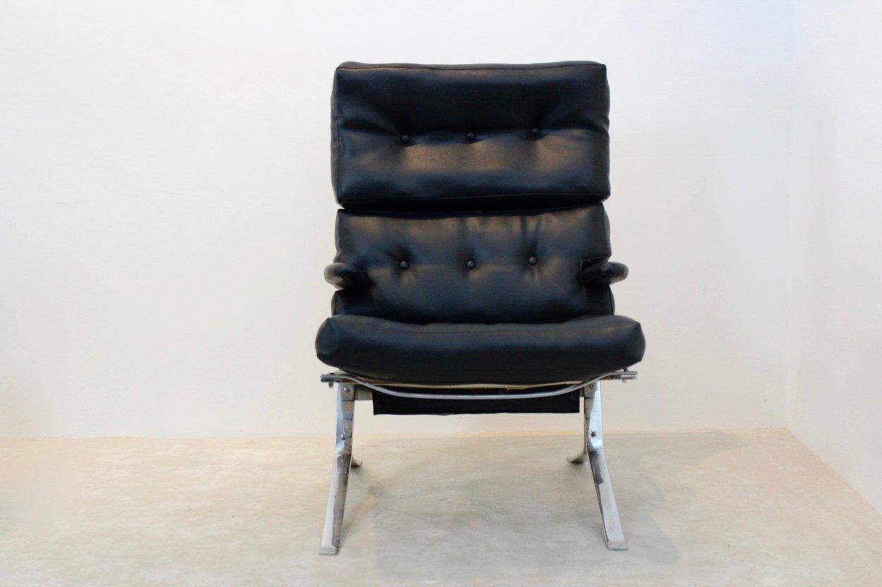 Mid Century Belgian Chrome High Back Lounge Chair 1970s