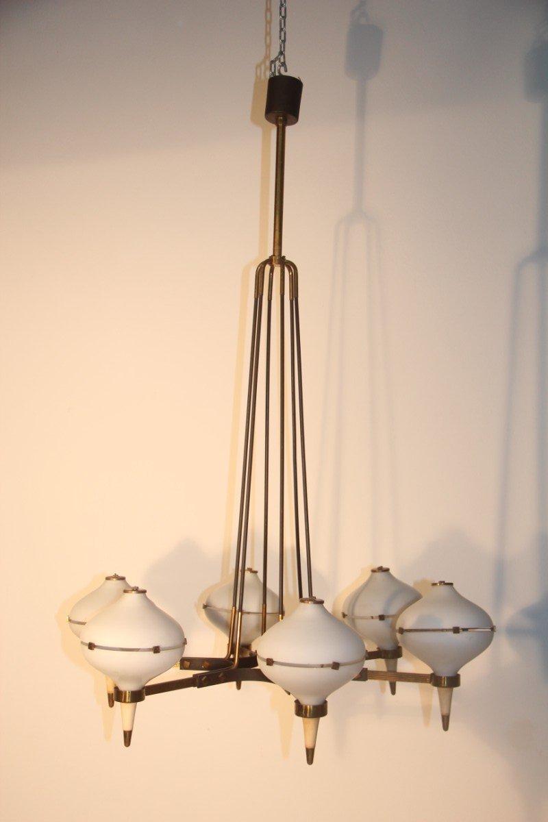 Italienischer Mid-Century Kronleuchter mit Sechs Lampen, 1950er