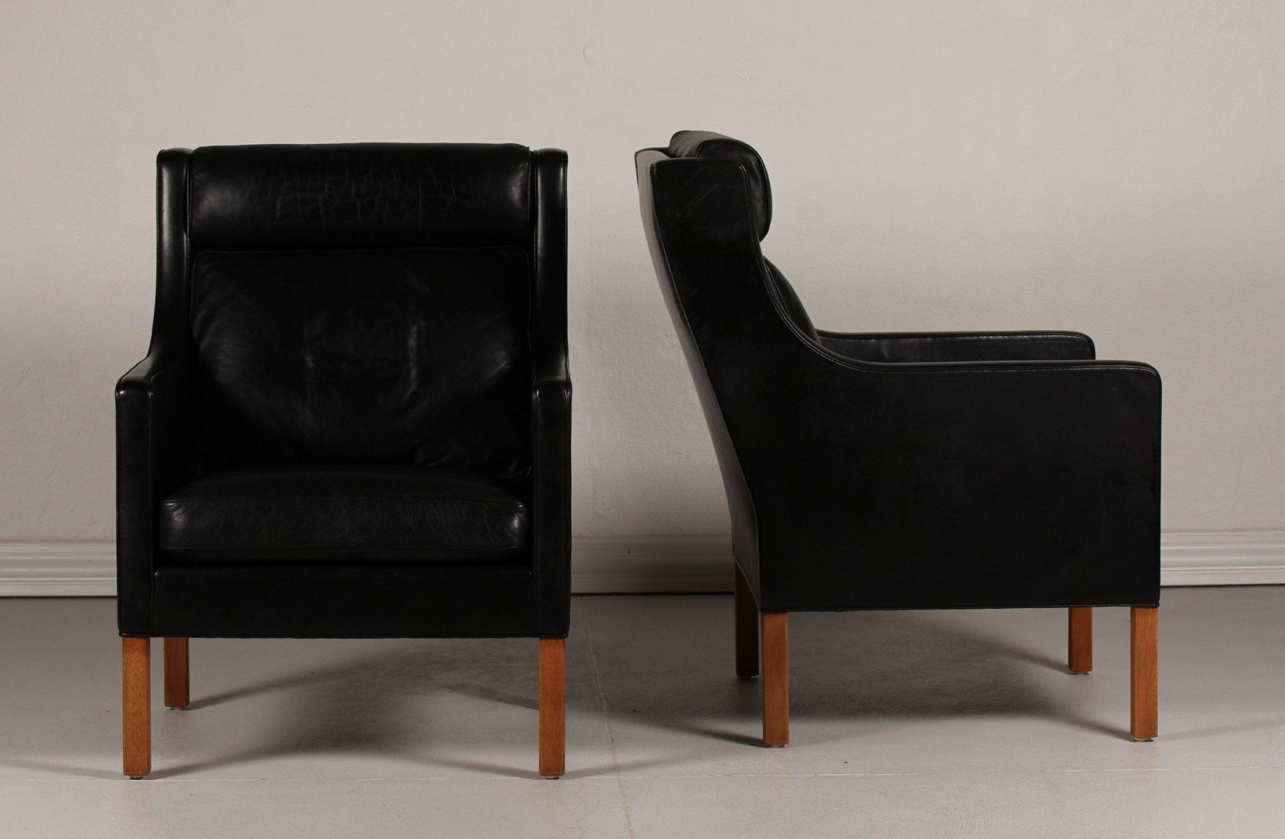 d nische 2431 ohrensessel aus schwarzem leder und eiche von b rge mogensen f r fredericia. Black Bedroom Furniture Sets. Home Design Ideas