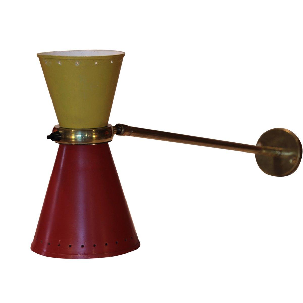Französische Diabolo Wandlampe in Rot & Gelb, 1950er