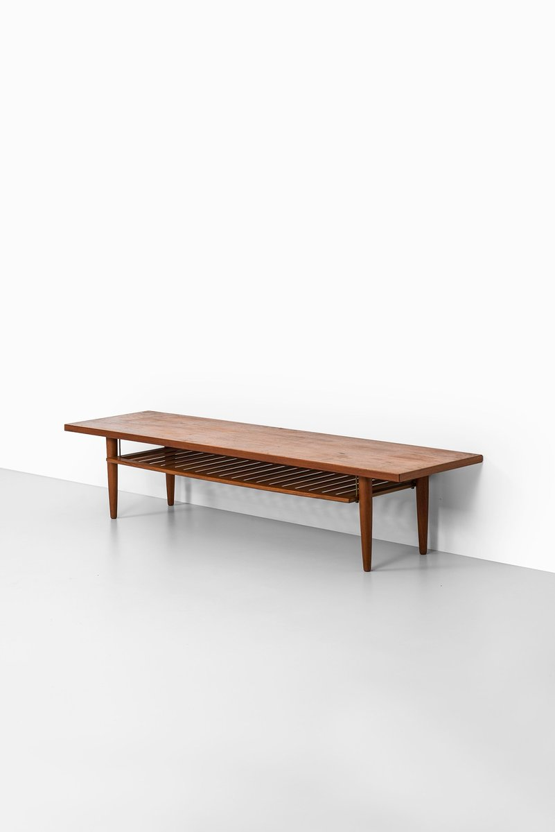 skandinavischer langer beistelltisch mit ablage 1950er bei pamono kaufen. Black Bedroom Furniture Sets. Home Design Ideas