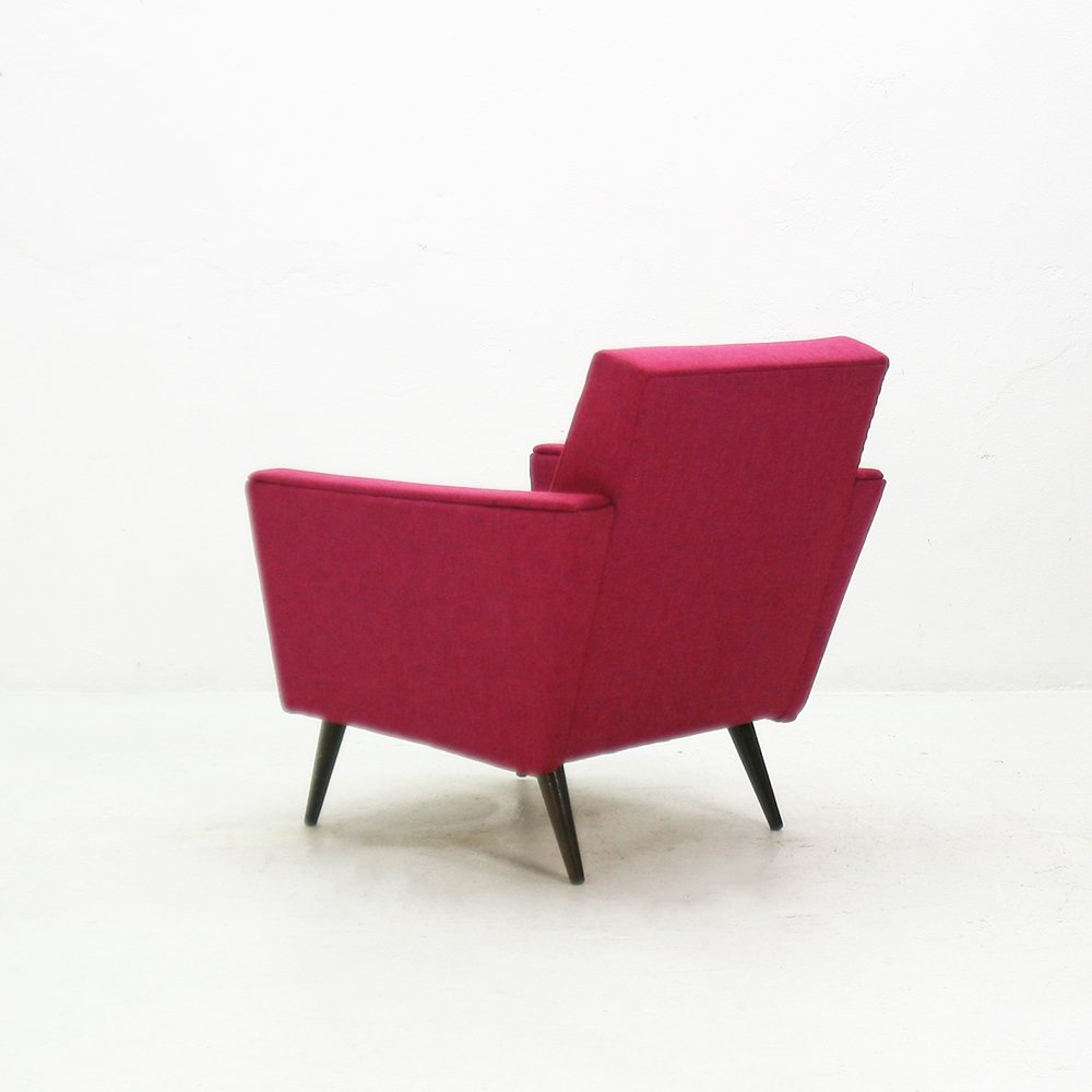 Pink Armchair With Beech Legs, 1950s For Sale At Pamono