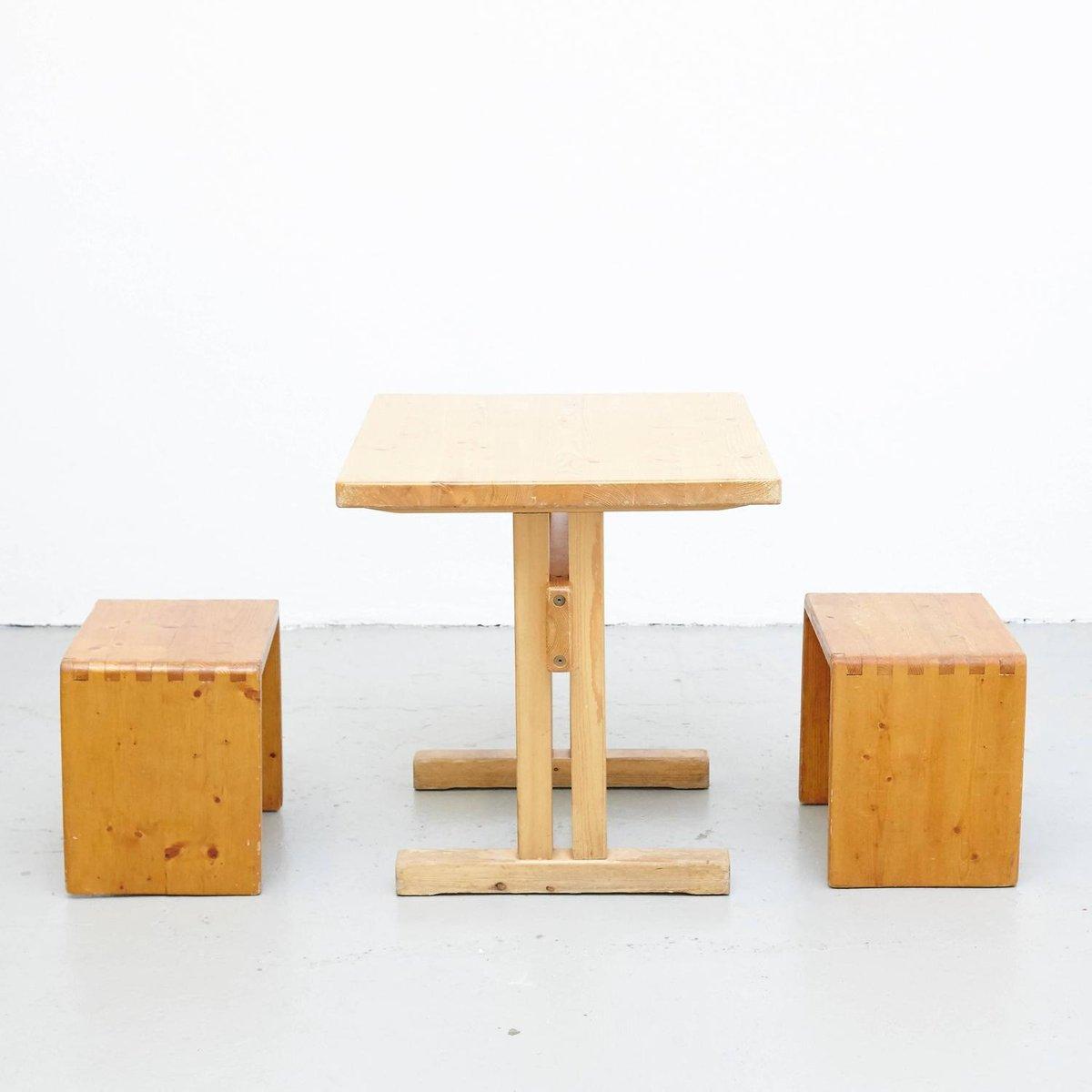 Mid-Century Tisch & Hocker von Charlotte Perriand für Les Arcs