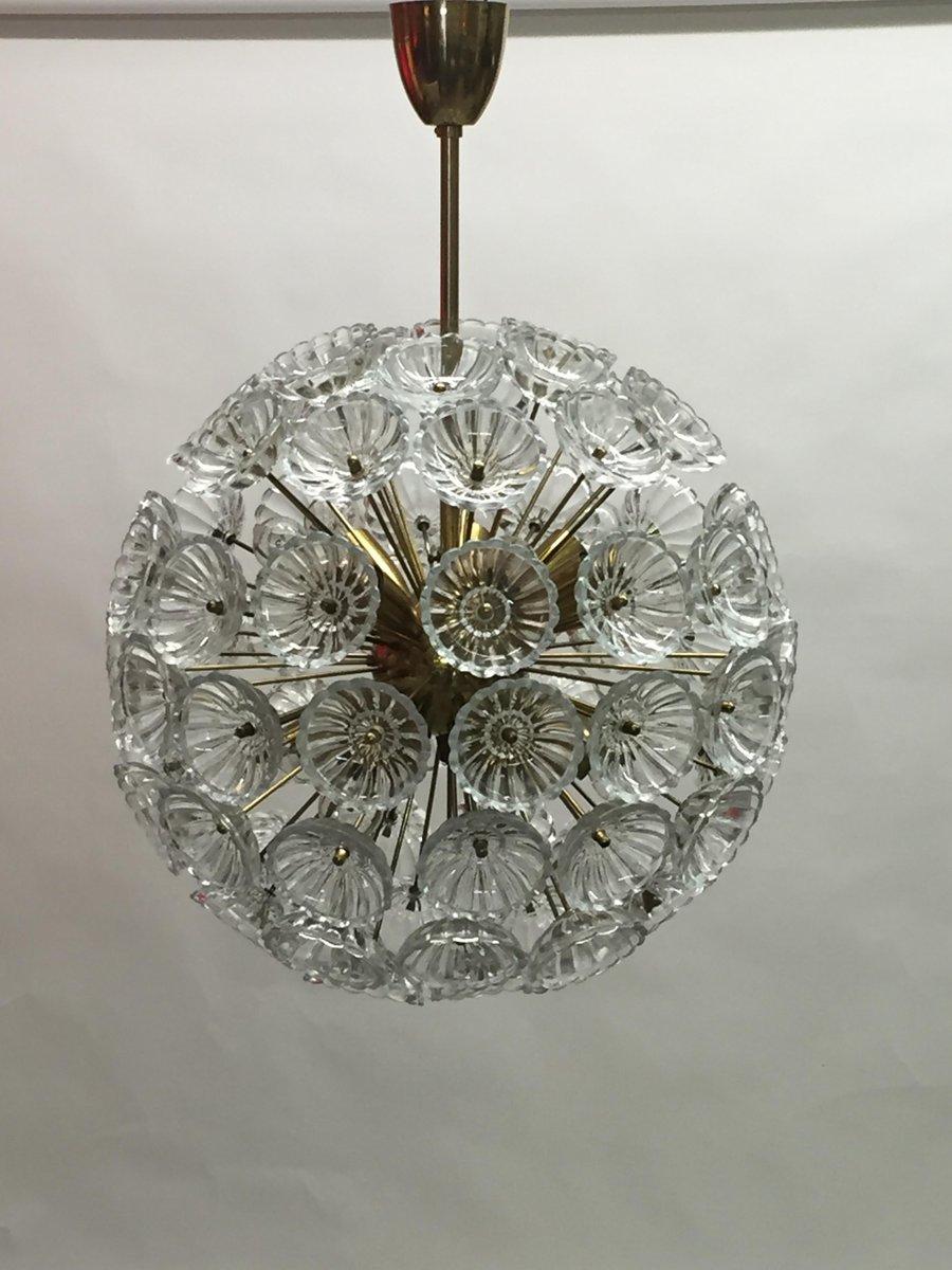 Deutsche Große Kristallglas Deckenlampe von Werksentwurf für VEB Ebers...