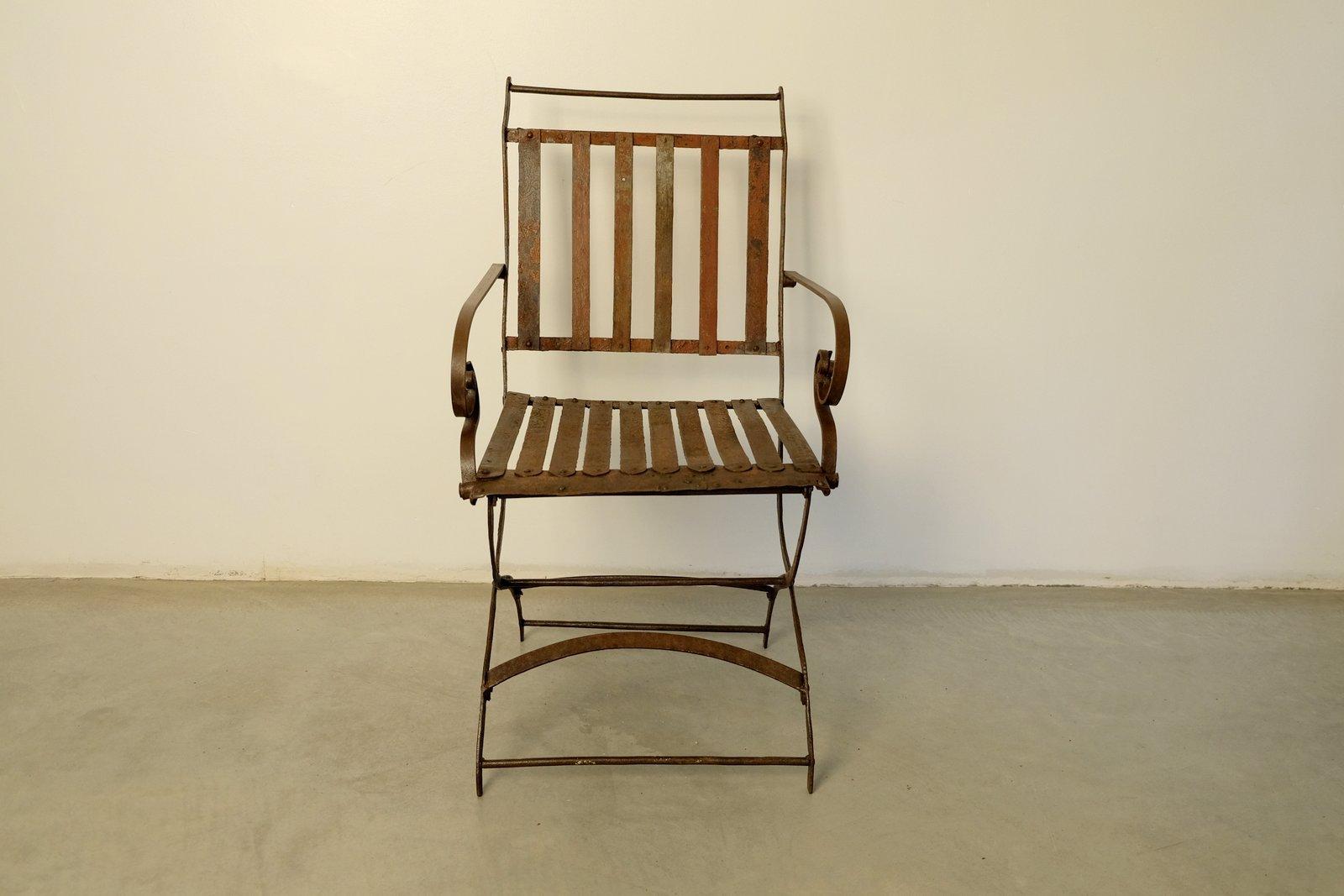 chaise de jardin pliable vintage rivet e en vente sur pamono. Black Bedroom Furniture Sets. Home Design Ideas