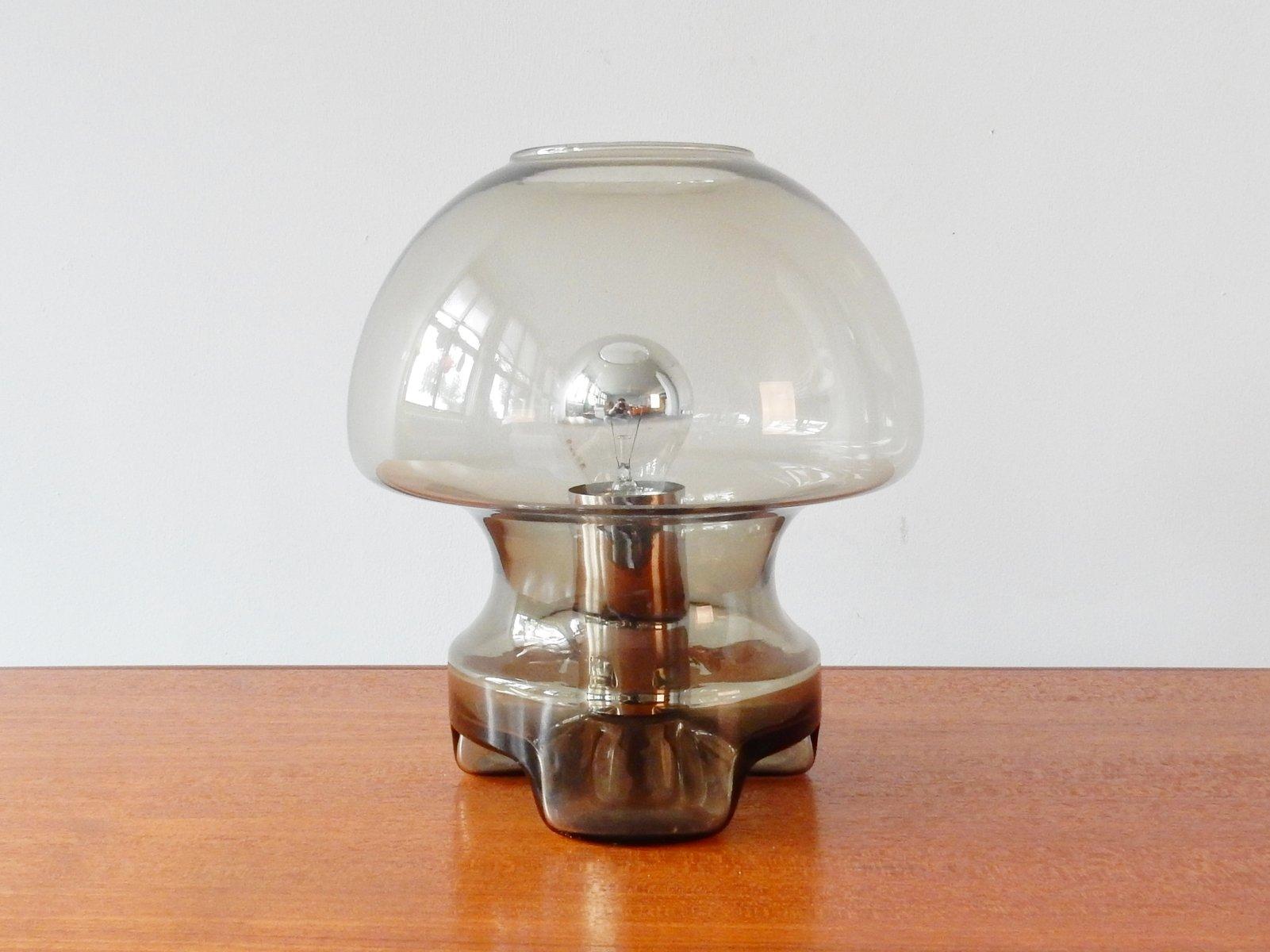 Vintage Rauchglas Tischlampe