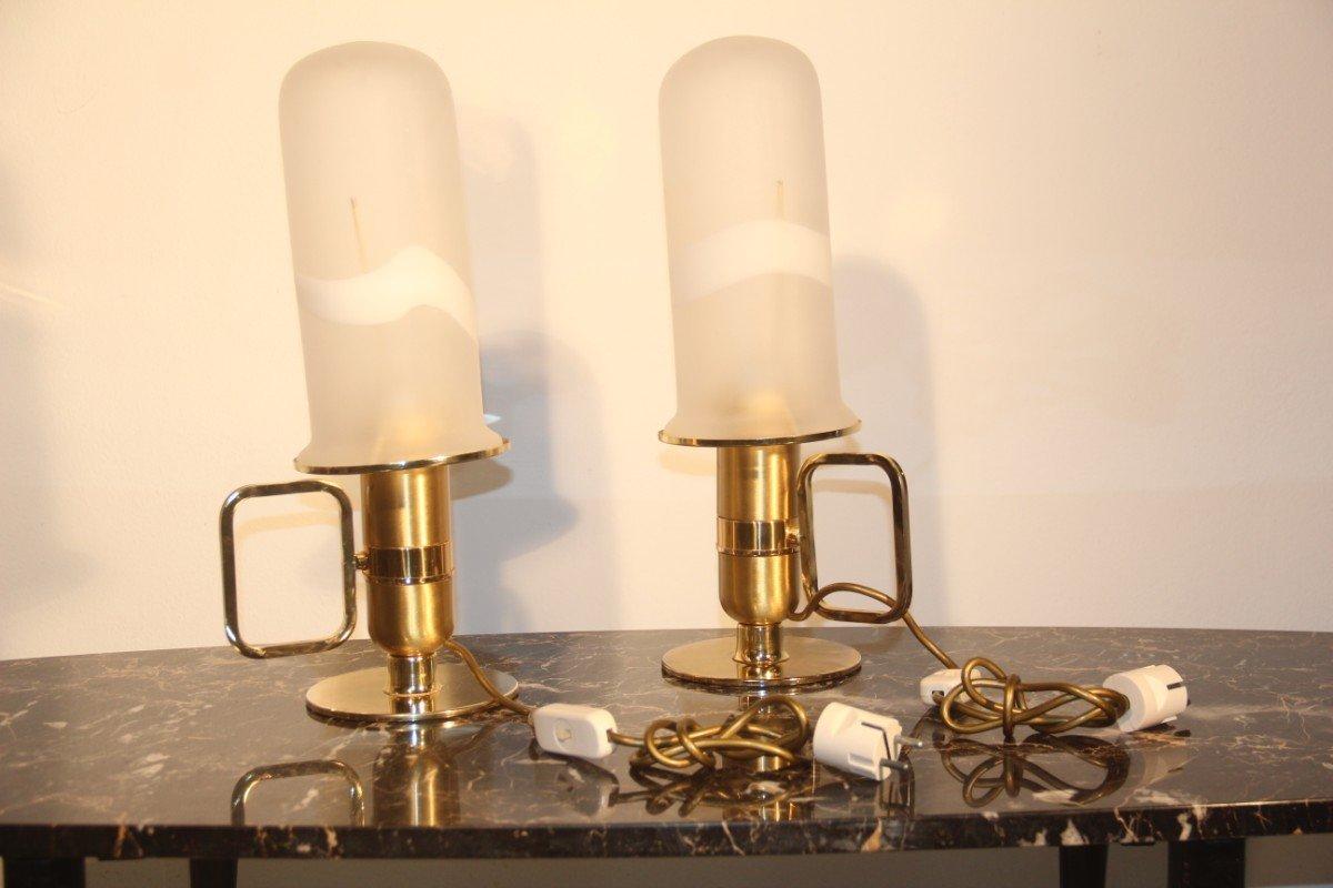 Italienische Tischlampe aus Goldenem Metall und Murano Glas, 1970er, 2...