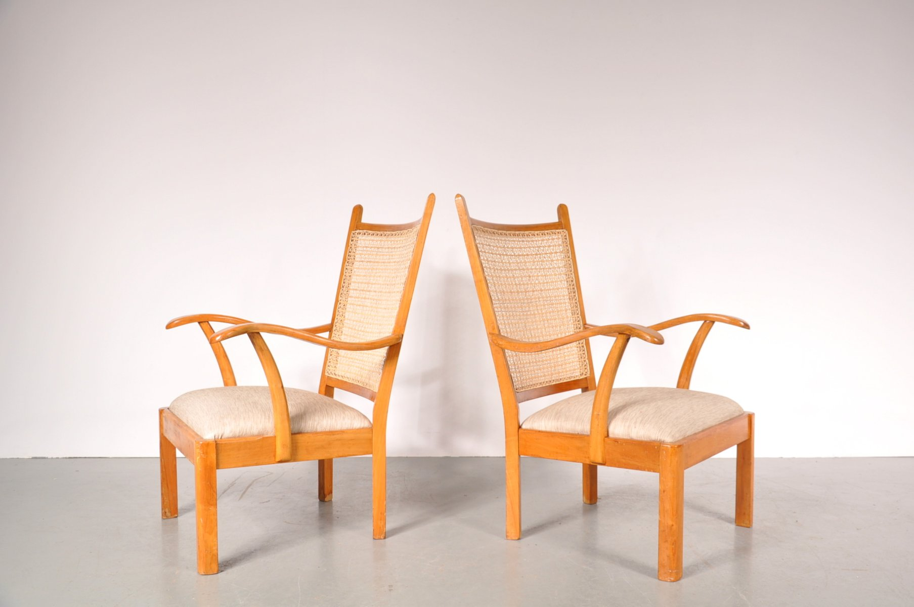 Beechwood easy chairs by bas van pelt for my home 1940s set of 2