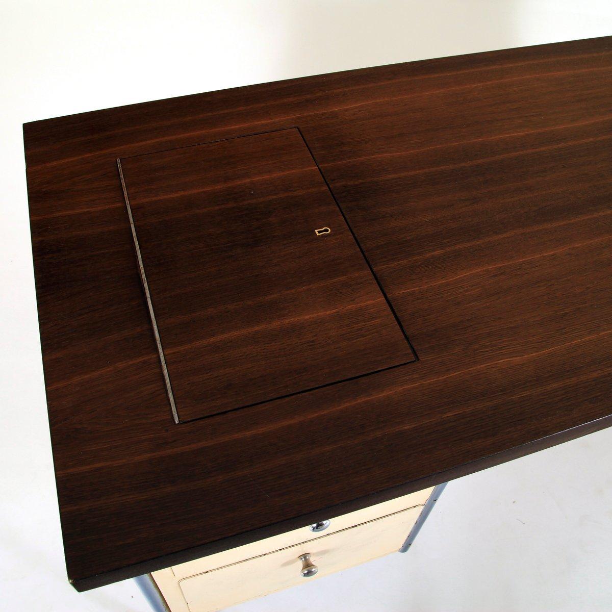 deutscher mid century schreibtisch mit stahlrohrrahmen bei pamono kaufen. Black Bedroom Furniture Sets. Home Design Ideas