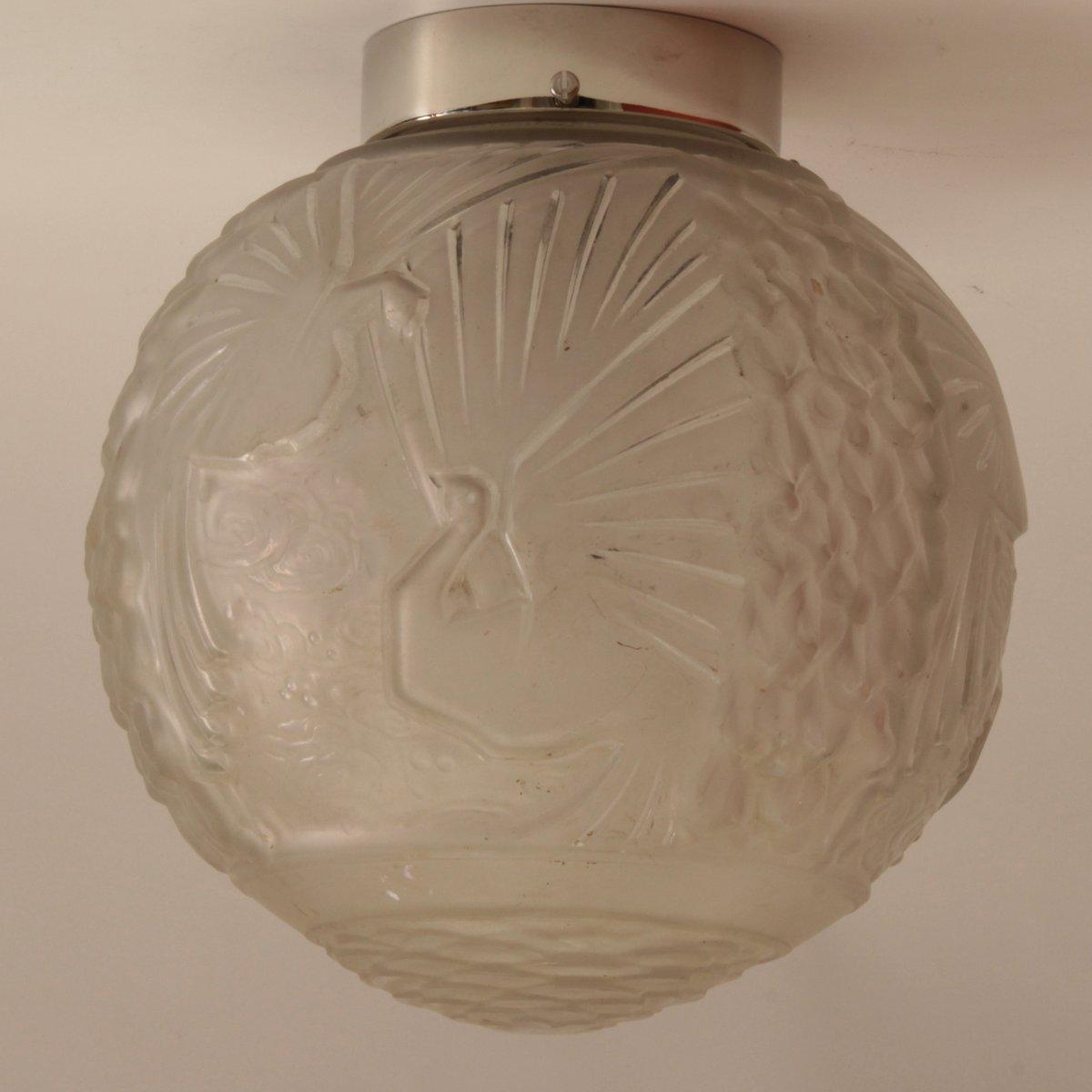 Große Französische Art Deco Deckenlampe von Muller Frères, 1920er