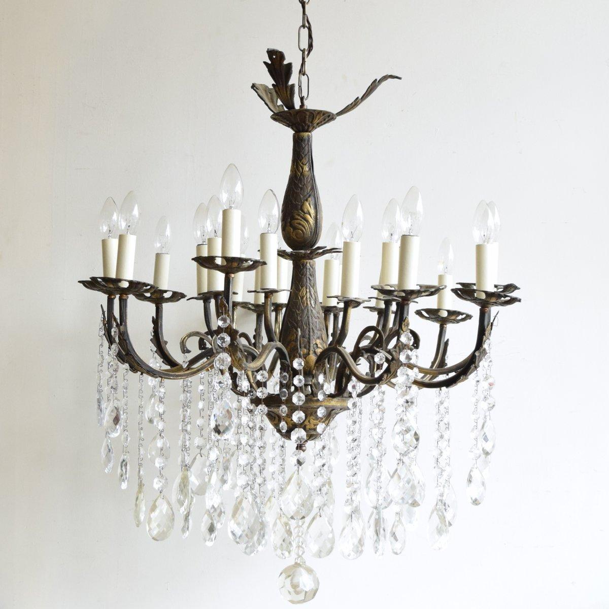 Large vintage french 16 light brass chandelier for sale at pamono large vintage french 16 light brass chandelier aloadofball Gallery