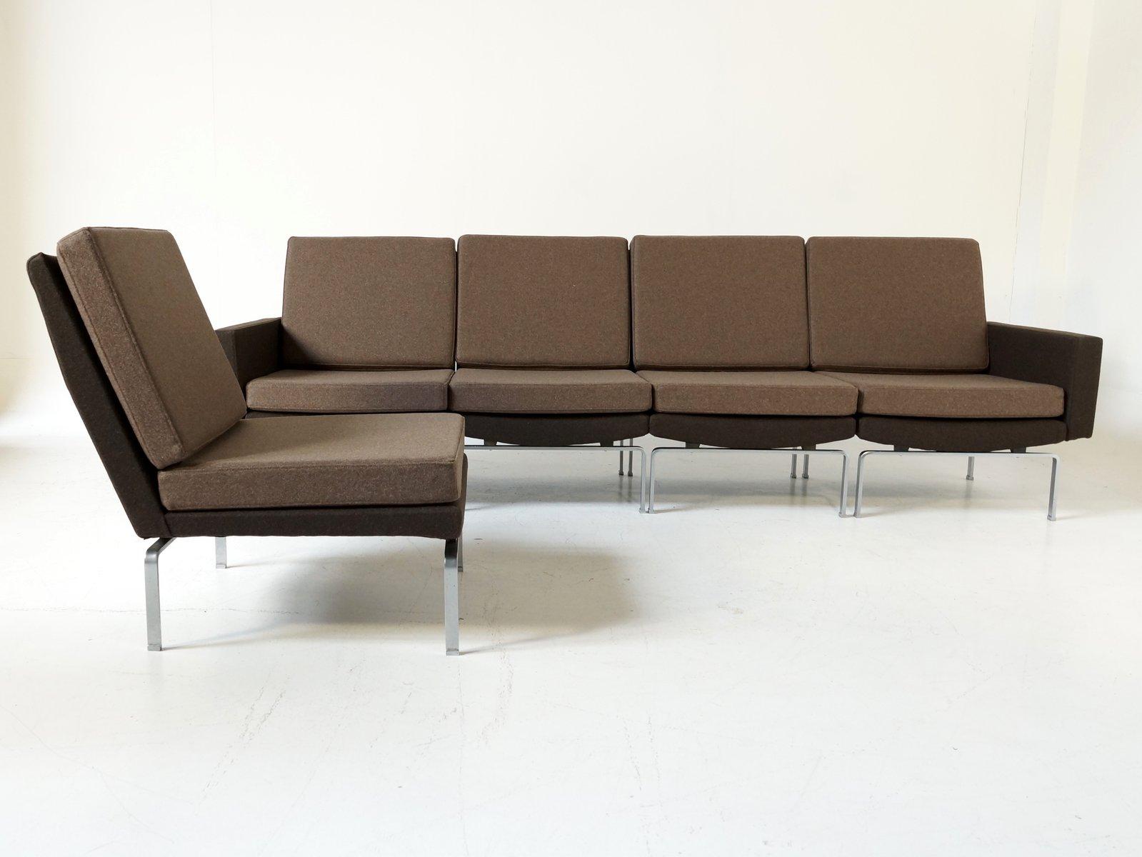 braunes modulares sofa aus f nf teilen mit verchromten stahlgestell 1972 bei pamono kaufen. Black Bedroom Furniture Sets. Home Design Ideas