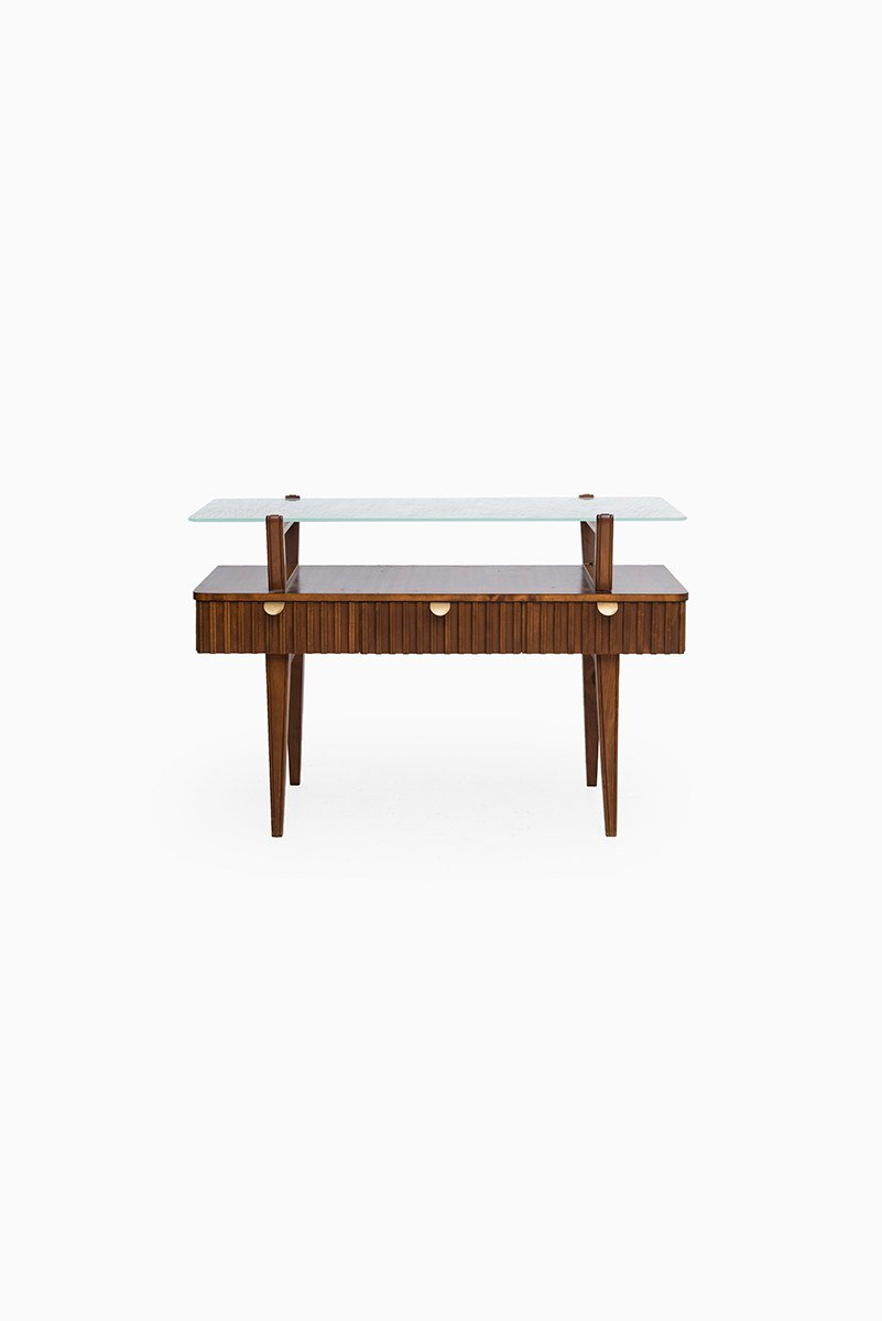 table console mid century en laiton en verre et en bouleau su de en vente sur pamono. Black Bedroom Furniture Sets. Home Design Ideas