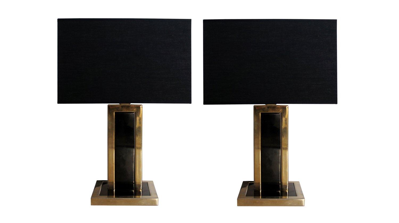 Vintage Tischlampen aus Schwarzem Metall & Messing, 2er Set