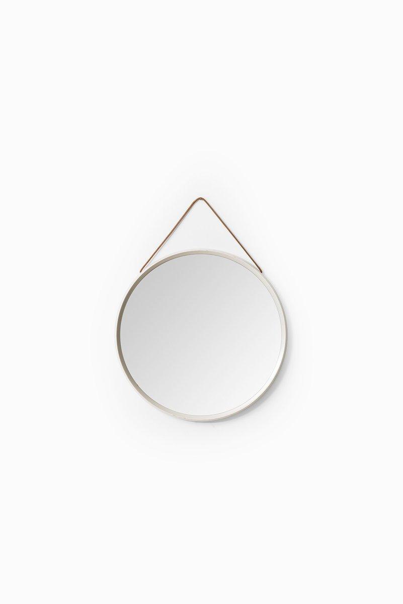 miroir rond vintage blanc avec bande de cuir en vente sur pamono. Black Bedroom Furniture Sets. Home Design Ideas