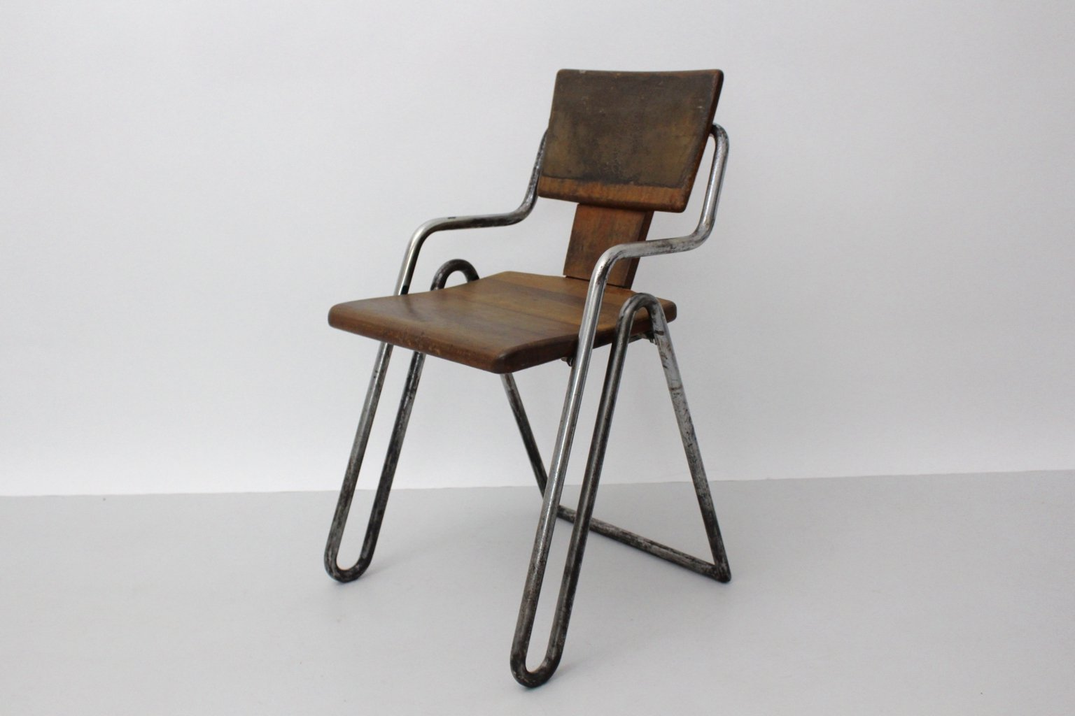 Vintage Tubular Steel Chair By Peter Behrens 1930s For
