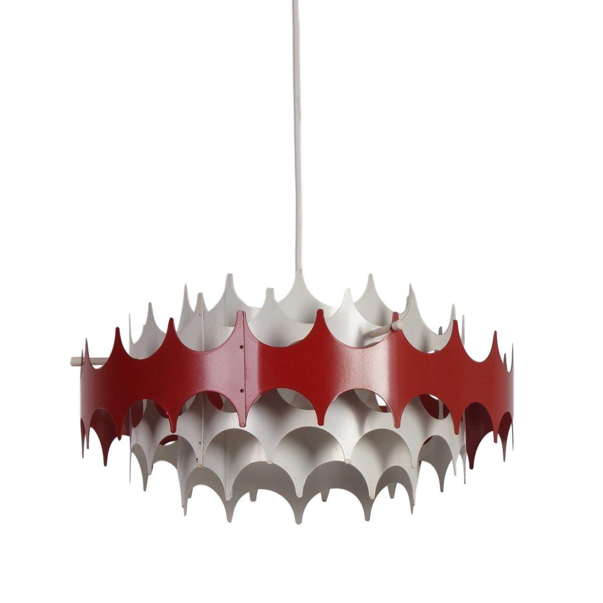 Hängelampe aus Weißem & Rotem Metall von Doria, 1960er