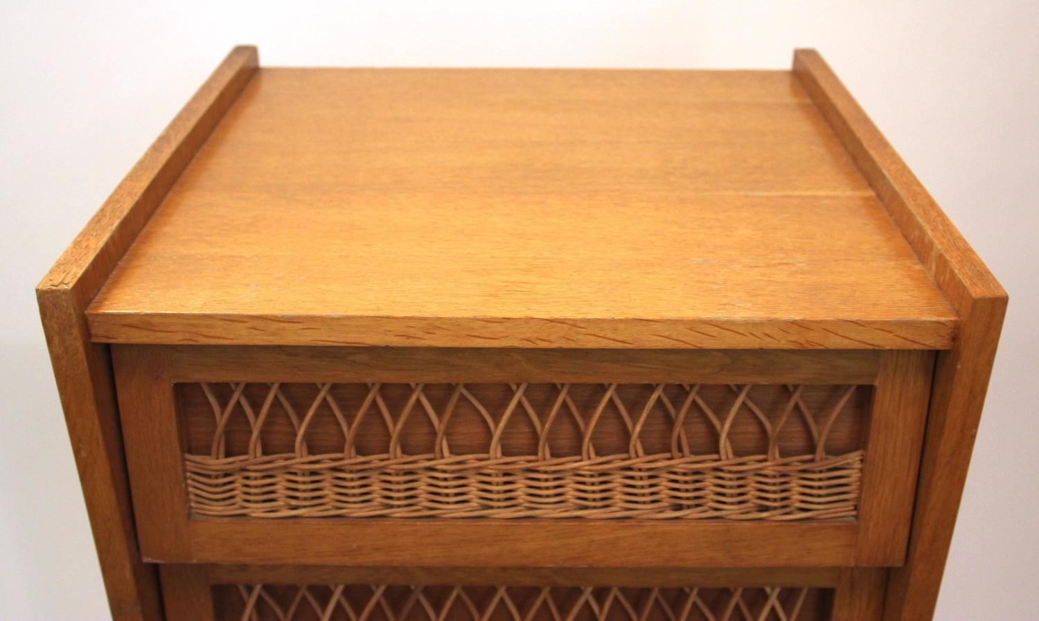 french wood wicker chest of drawers 1970s for sale at pamono. Black Bedroom Furniture Sets. Home Design Ideas